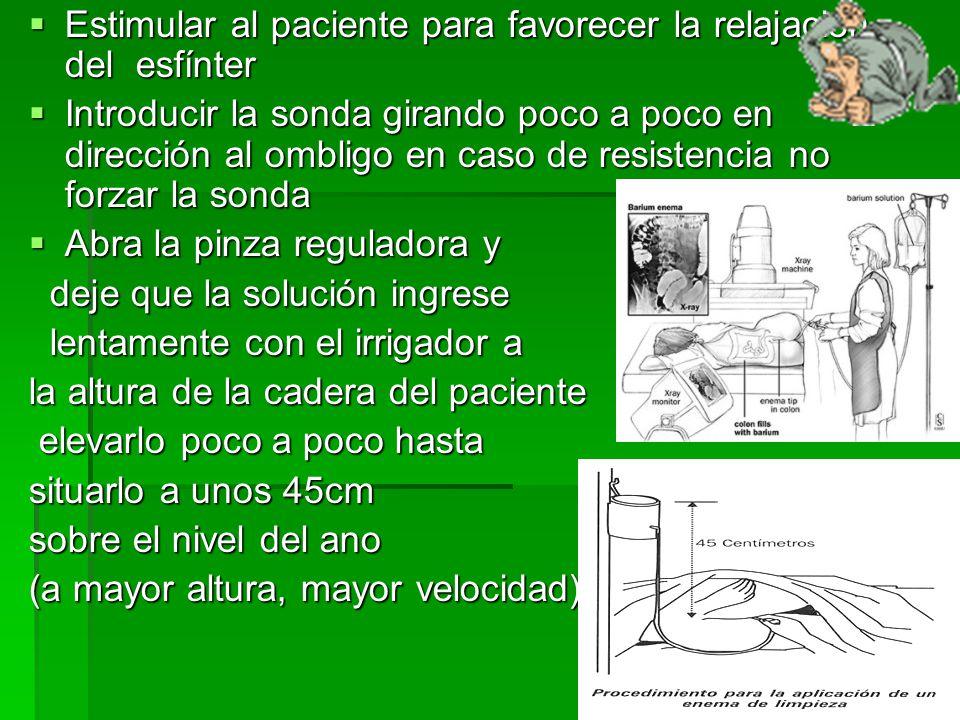 Durante el procedimiento considerar tener en cuenta los siguientes puntos  Ante la sensación de calambres suspender el procedimiento durante 30 segundos o bien descienda el recipiente para disminuir la velocidad del flujo.