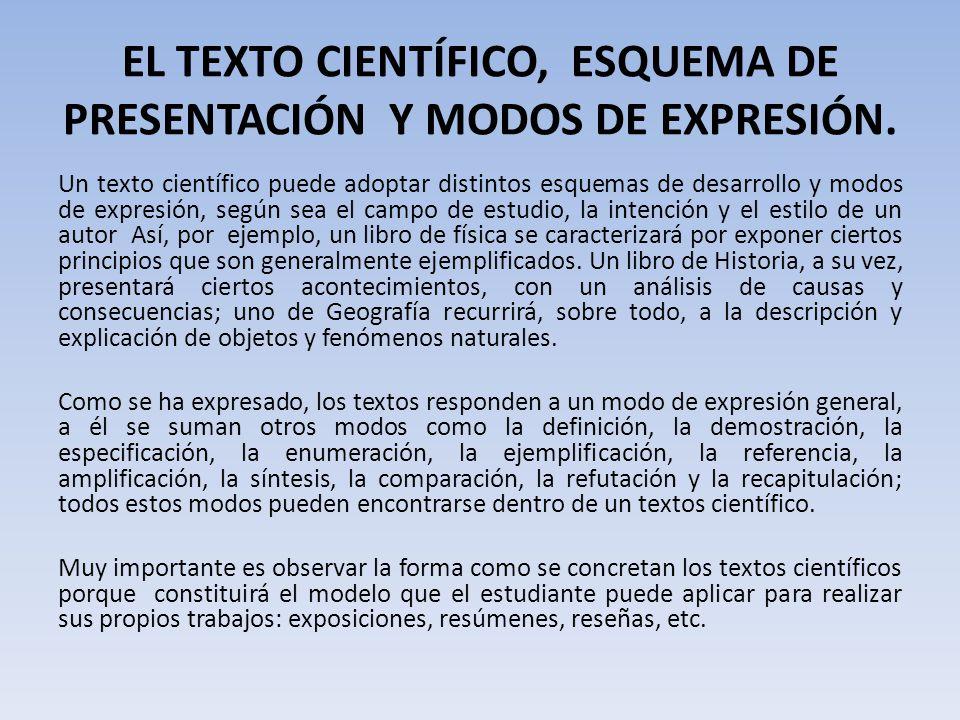 EL TEXTO CIENTÍFICO, ESQUEMA DE PRESENTACIÓN Y MODOS DE EXPRESIÓN.
