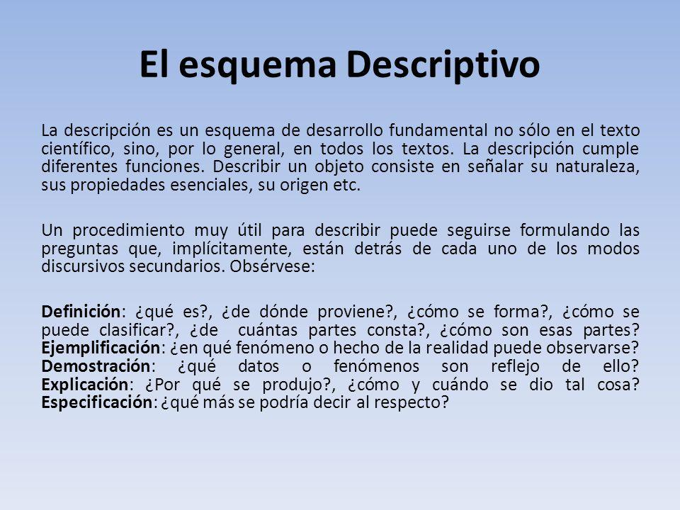 El esquema Descriptivo La descripción es un esquema de desarrollo fundamental no sólo en el texto científico, sino, por lo general, en todos los textos.