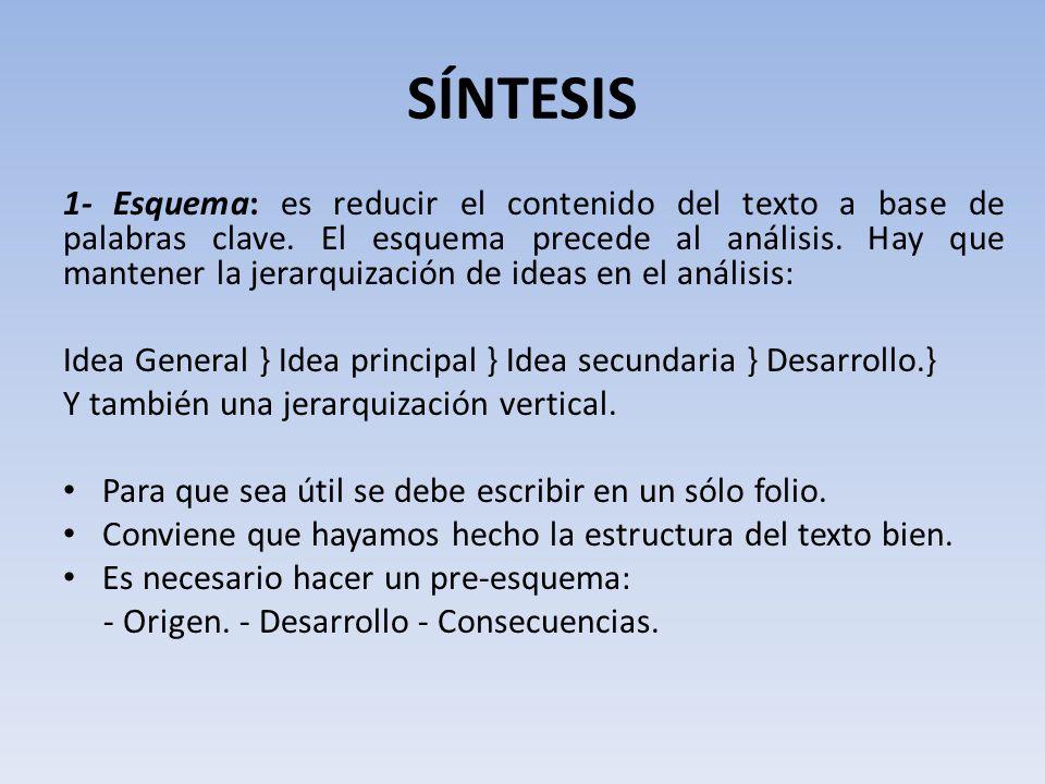 SÍNTESIS 1- Esquema: es reducir el contenido del texto a base de palabras clave.
