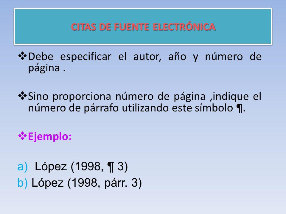 CITAS DE FUENTE ELECTRÓNICA  Debe especificar el autor, año y número de página.
