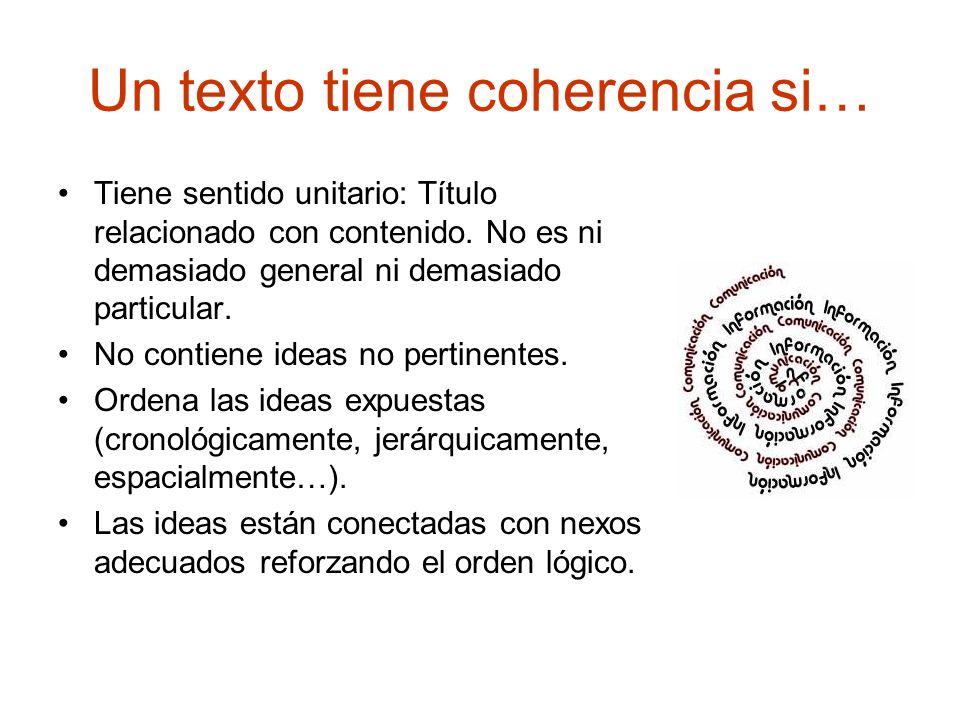 Un texto tiene coherencia si… Tiene sentido unitario: Título relacionado con contenido.