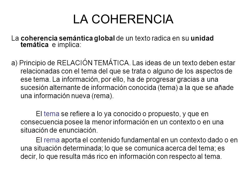 LA COHERENCIA La coherencia semántica global de un texto radica en su unidad temática e implica: a) Principio de RELACIÓN TEMÁTICA.