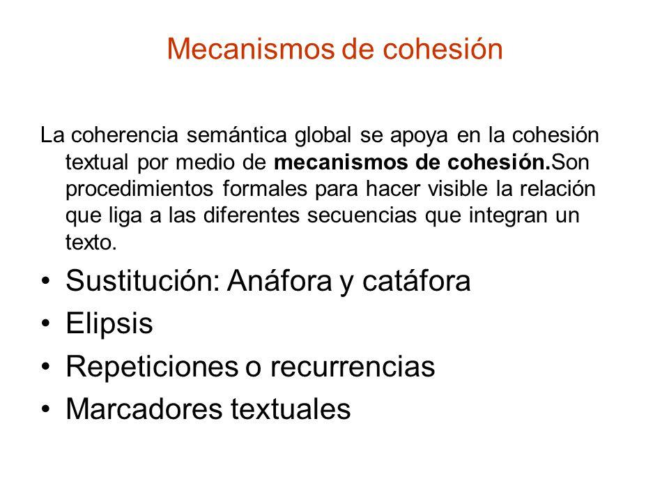 Mecanismos de cohesión La coherencia semántica global se apoya en la cohesión textual por medio de mecanismos de cohesión.Son procedimientos formales para hacer visible la relación que liga a las diferentes secuencias que integran un texto.