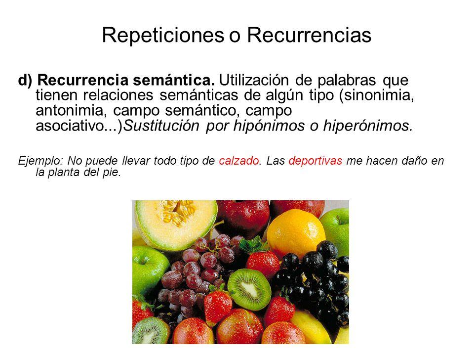Repeticiones o Recurrencias d) Recurrencia semántica.
