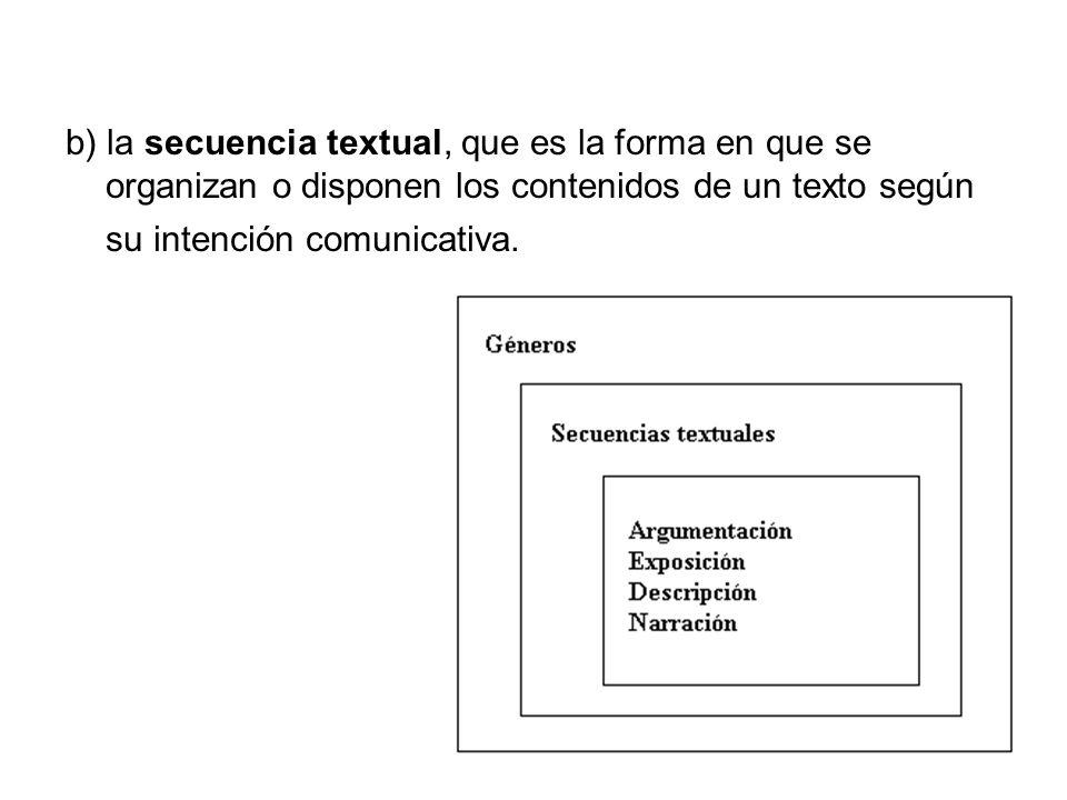 b) la secuencia textual, que es la forma en que se organizan o disponen los contenidos de un texto según su intención comunicativa.