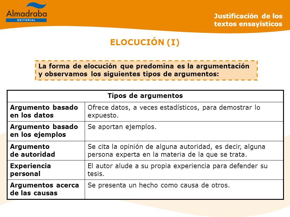 La forma de elocución que predomina es la argumentación y observamos los siguientes tipos de argumentos: ELOCUCIÓN (I) Justificación de los textos ensayísticos Tipos de argumentos Argumento basado en los datos Ofrece datos, a veces estadísticos, para demostrar lo expuesto.