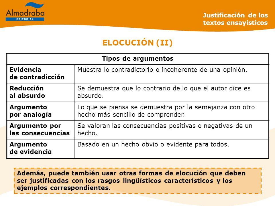 ELOCUCIÓN (II) Justificación de los textos ensayísticos Además, puede también usar otras formas de elocución que deben ser justificadas con los rasgos lingüísticos característicos y los ejemplos correspondientes.