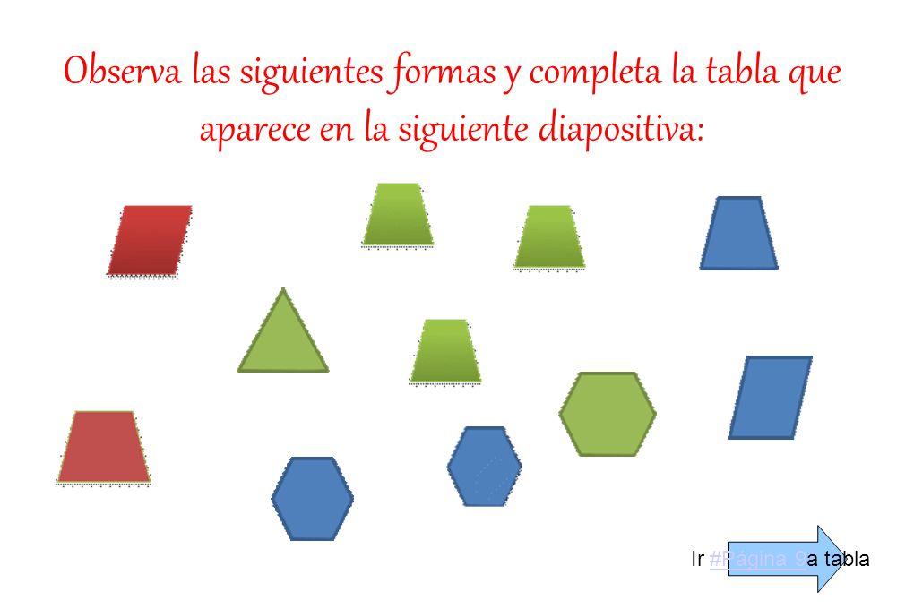 Observa las siguientes formas y completa la tabla que aparece en la siguiente diapositiva: Ir #Página 9a tabla#Página 9