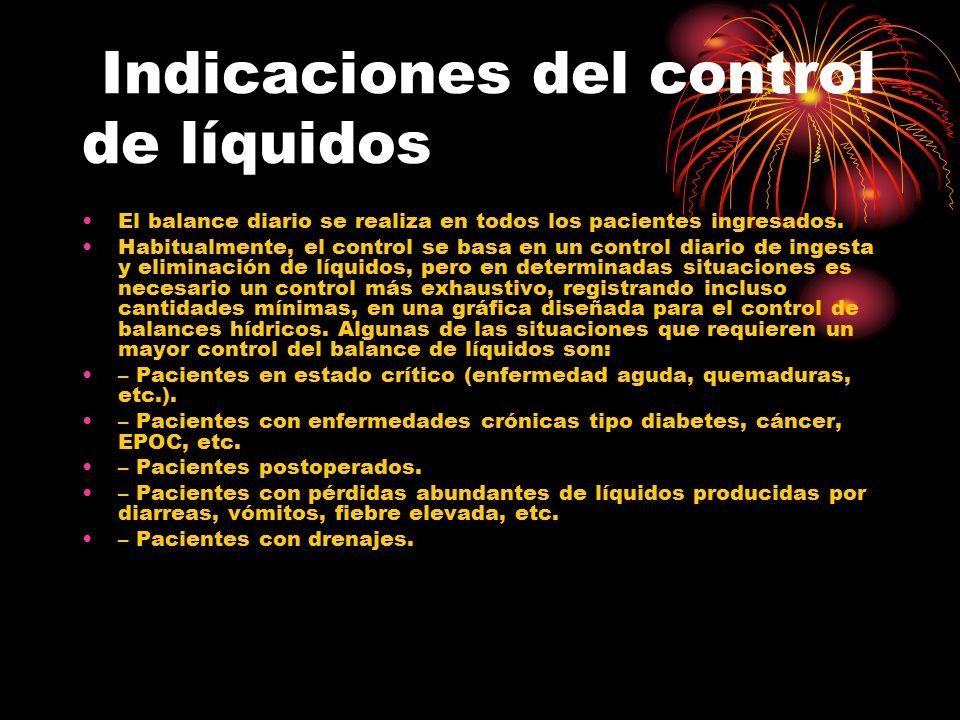 Indicaciones del control de líquidos El balance diario se realiza en todos los pacientes ingresados. Habitualmente, el control se basa en un control d