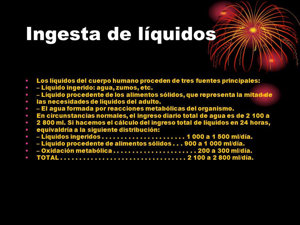 Ingesta de líquidos Los líquidos del cuerpo humano proceden de tres fuentes principales: – Líquido ingerido: agua, zumos, etc. – Líquido procedente de