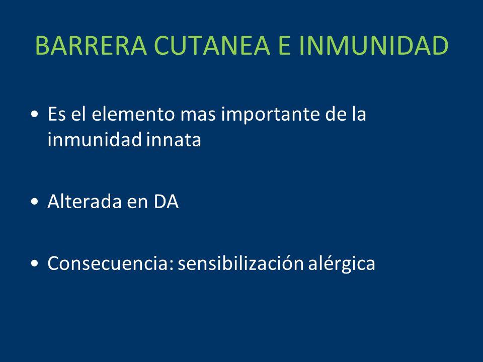 BARRERA CUTANEA E INMUNIDAD Es el elemento mas importante de la inmunidad innata Alterada en DA Consecuencia: sensibilización alérgica