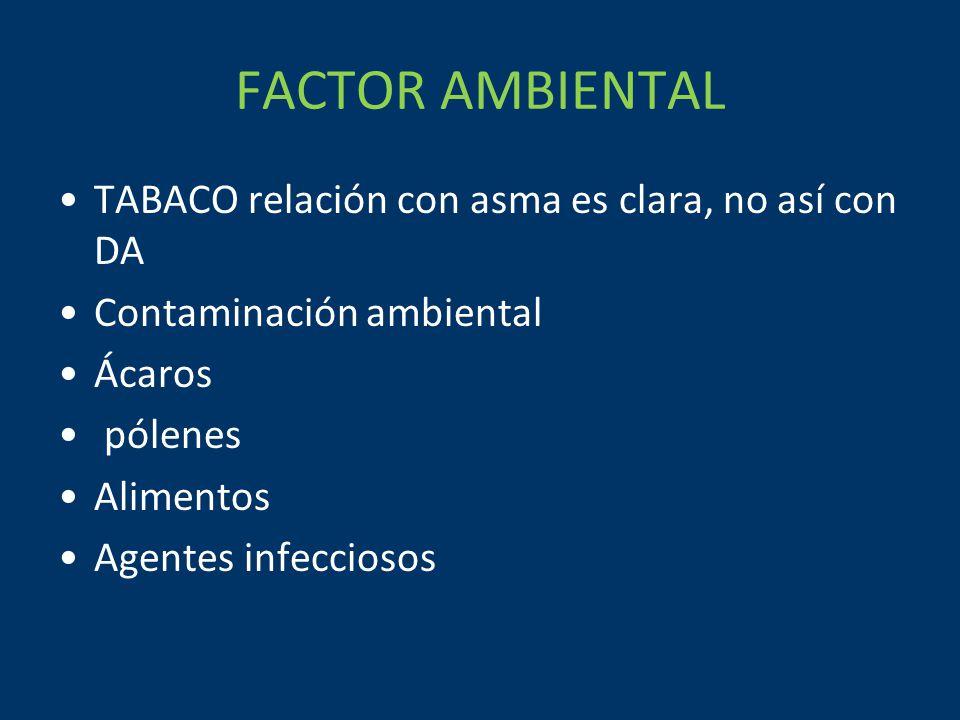 FACTOR AMBIENTAL TABACO relación con asma es clara, no así con DA Contaminación ambiental Ácaros pólenes Alimentos Agentes infecciosos