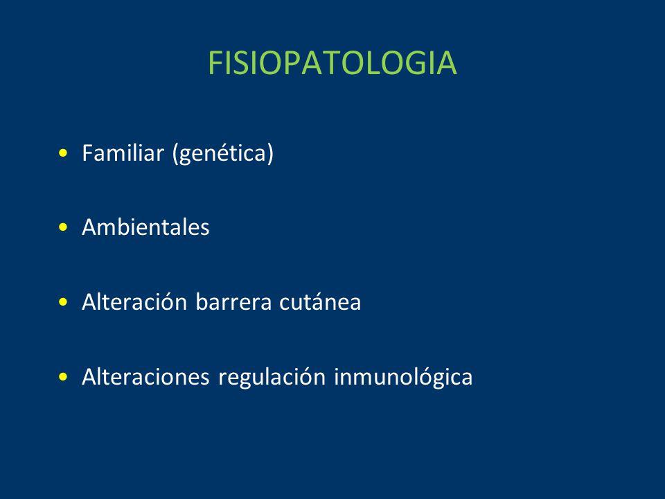 FISIOPATOLOGIA Familiar (genética) Ambientales Alteración barrera cutánea Alteraciones regulación inmunológica