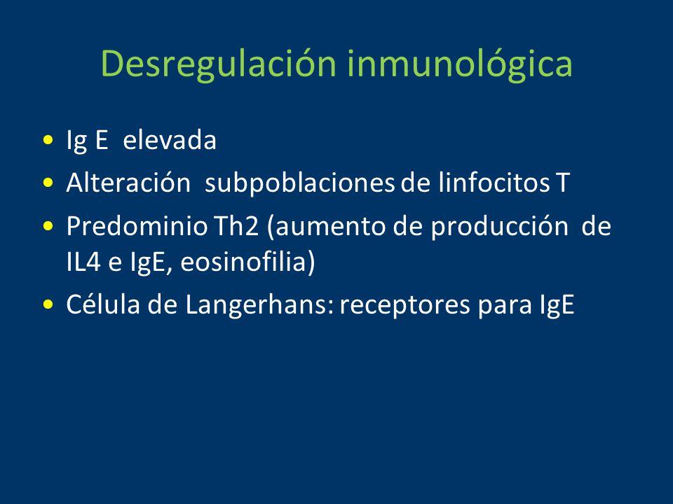 Desregulación inmunológica Ig E elevada Alteración subpoblaciones de linfocitos T Predominio Th2 (aumento de producción de IL4 e IgE, eosinofilia) Célula de Langerhans: receptores para IgE
