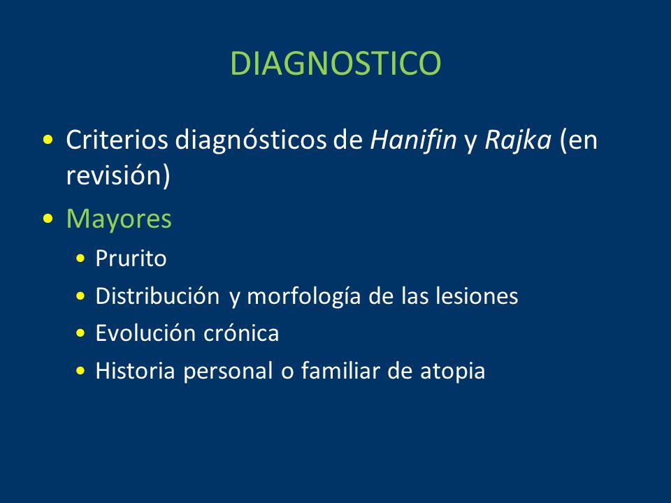 DIAGNOSTICO Criterios diagnósticos de Hanifin y Rajka (en revisión) Mayores Prurito Distribución y morfología de las lesiones Evolución crónica Historia personal o familiar de atopia