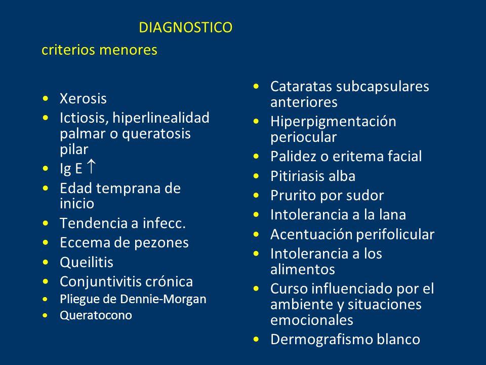 DIAGNOSTICO criterios menores Xerosis Ictiosis, hiperlinealidad palmar o queratosis pilar Ig E  Edad temprana de inicio Tendencia a infecc.