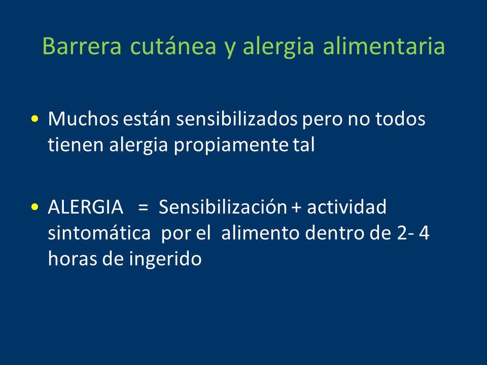 Barrera cutánea y alergia alimentaria Muchos están sensibilizados pero no todos tienen alergia propiamente tal ALERGIA = Sensibilización + actividad sintomática por el alimento dentro de 2- 4 horas de ingerido