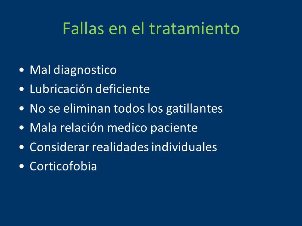 Fallas en el tratamiento Mal diagnostico Lubricación deficiente No se eliminan todos los gatillantes Mala relación medico paciente Considerar realidades individuales Corticofobia