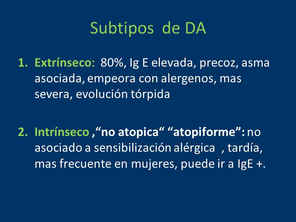 Subtipos de DA 1.Extrínseco: 80%, Ig E elevada, precoz, asma asociada, empeora con alergenos, mas severa, evolución tórpida 2.Intrínseco, no atopica atopiforme : no asociado a sensibilización alérgica, tardía, mas frecuente en mujeres, puede ir a IgE +.