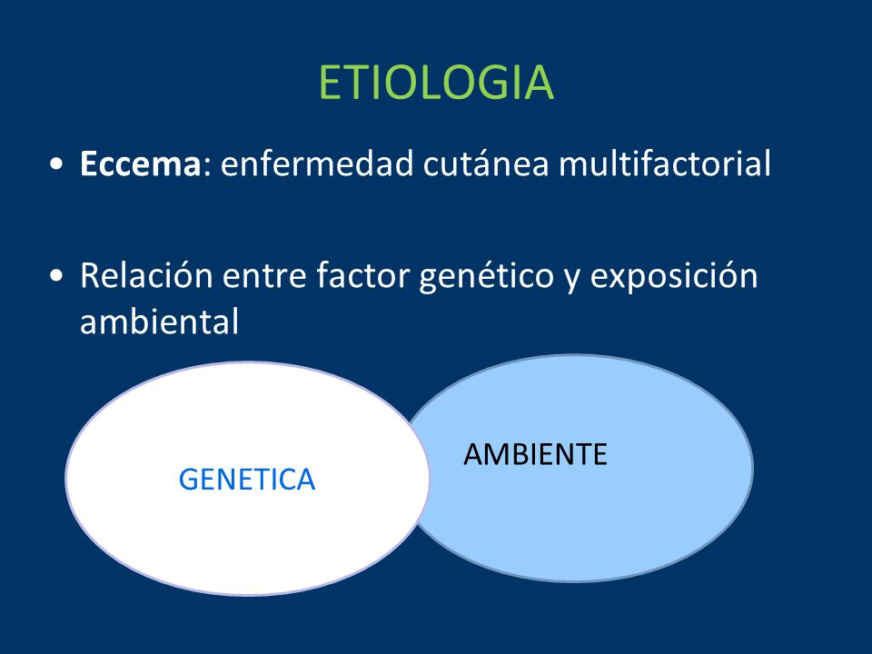 ETIOLOGIA Eccema: enfermedad cutánea multifactorial Relación entre factor genético y exposición ambiental GENETICA AMBIENTE