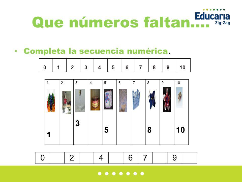 Que números faltan…. Completa la secuencia numérica. 012345678910 1111 23333 45555 678888 9 024679