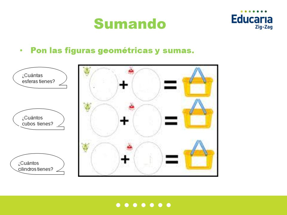 Sumando Pon las figuras geométricas y sumas.¿ Cuántas esferas tienes.