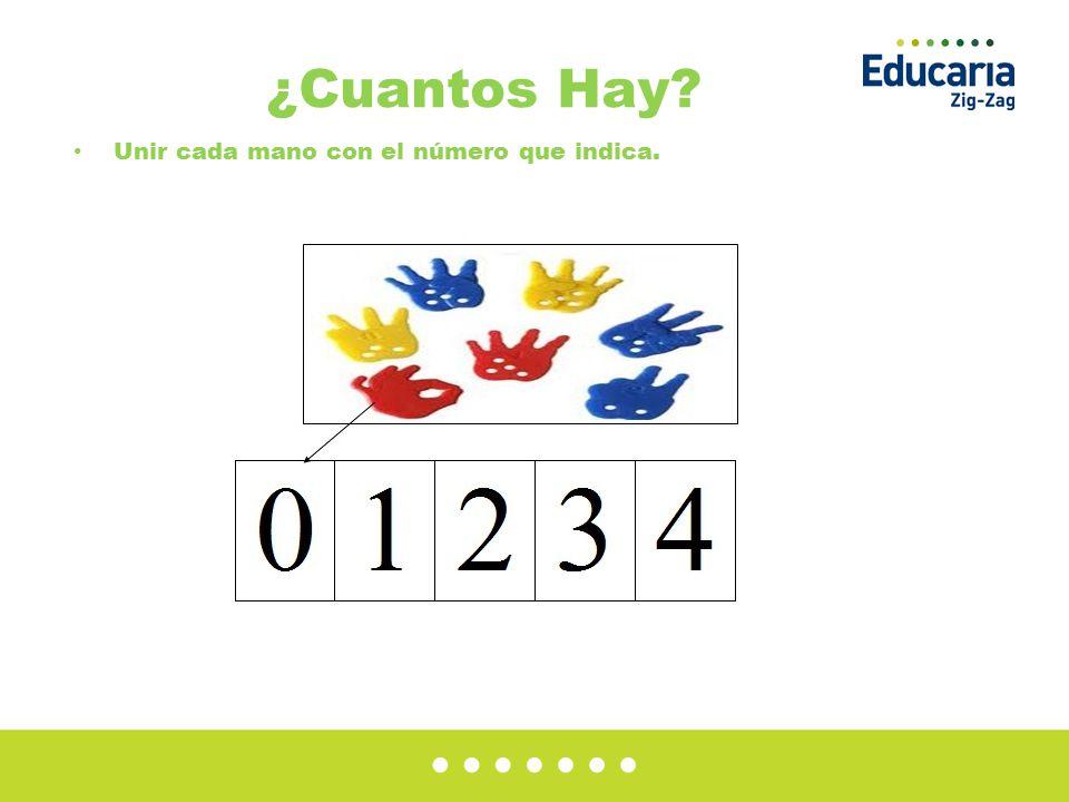 ¿Cuantos Hay? Unir cada mano con el número que indica.