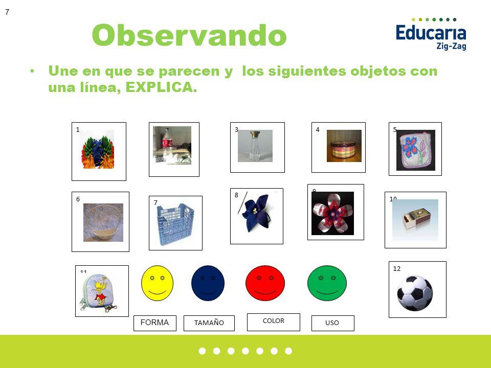7 Observando Une en que se parecen y los siguientes objetos con una línea, EXPLICA.