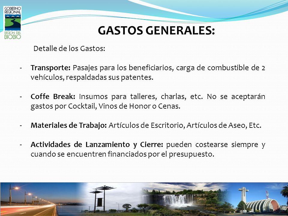 GASTOS GENERALES: Detalle de los Gastos: -Transporte: Pasajes para los beneficiarios, carga de combustible de 2 vehículos, respaldadas sus patentes.