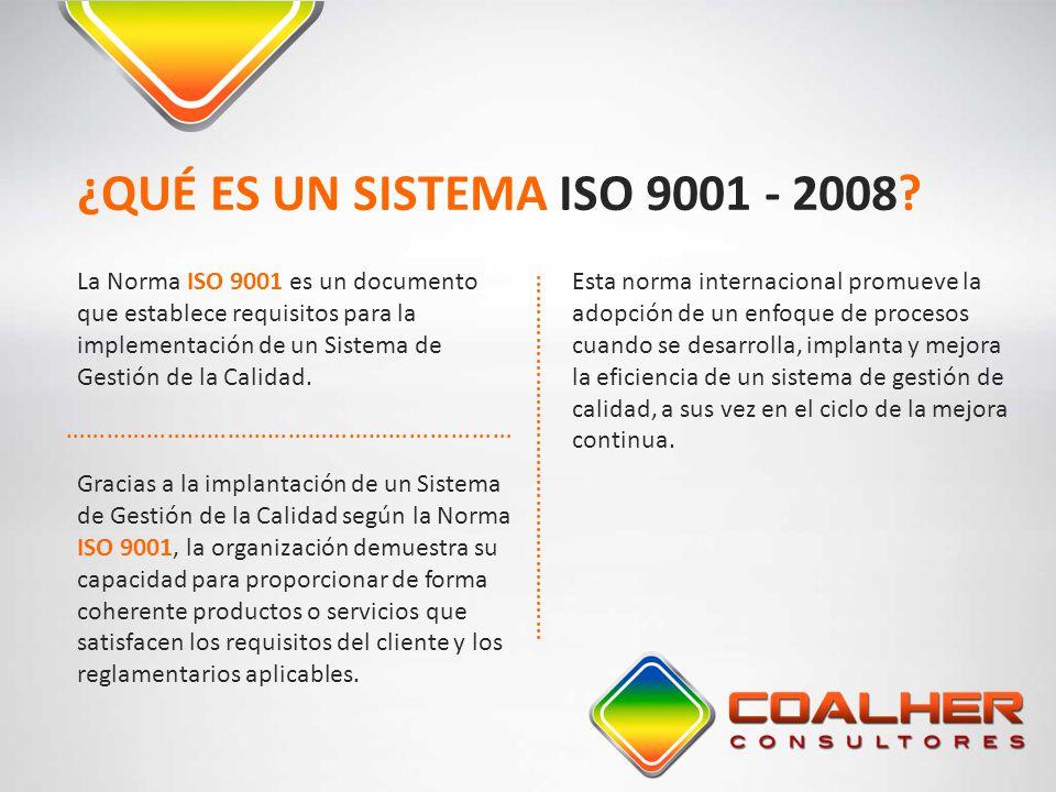 La Norma ISO 9001 es un documento que establece requisitos para la implementación de un Sistema de Gestión de la Calidad. ¿QUÉ ES UN SISTEMA ISO 9001