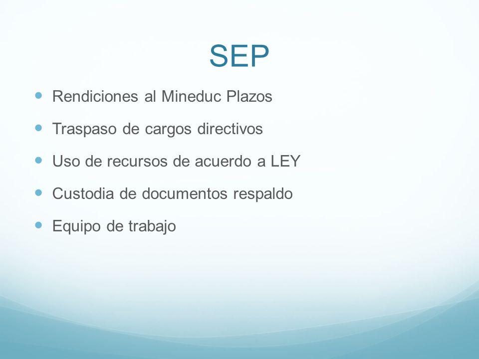 SEP Rendiciones al Mineduc Plazos Traspaso de cargos directivos Uso de recursos de acuerdo a LEY Custodia de documentos respaldo Equipo de trabajo