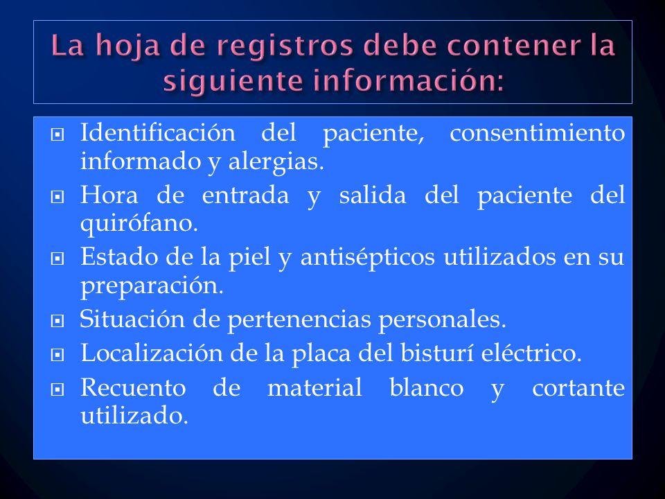  Identificación del paciente, consentimiento informado y alergias.