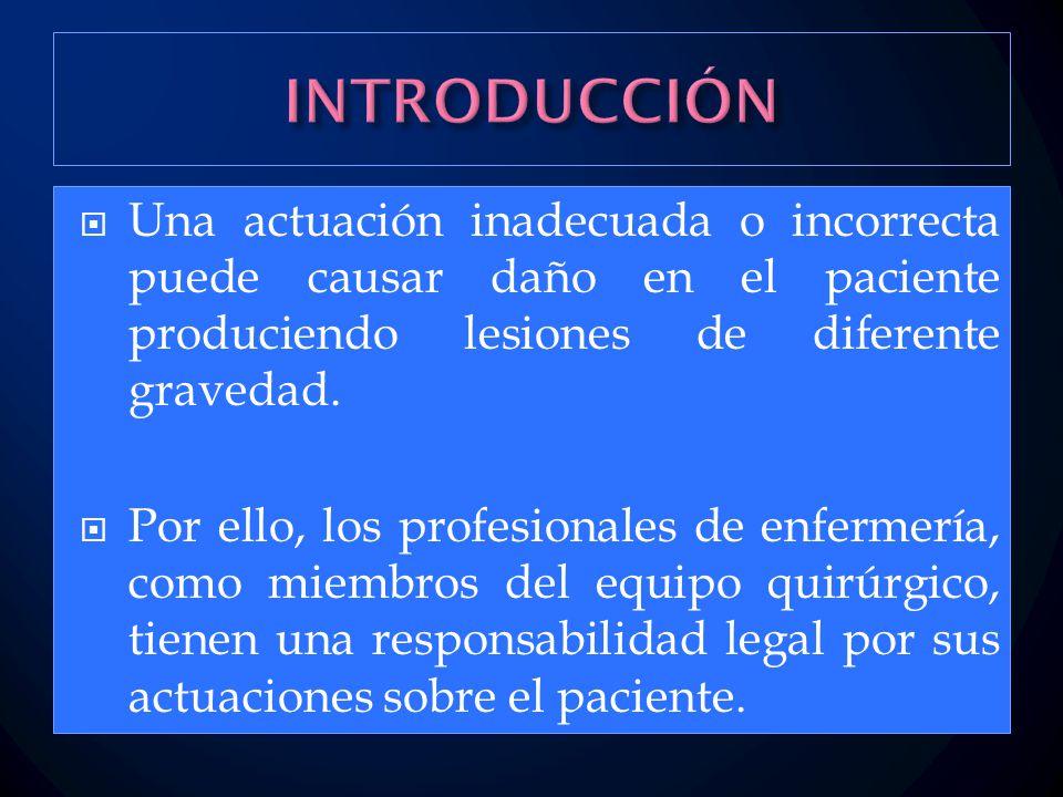  Una actuación inadecuada o incorrecta puede causar daño en el paciente produciendo lesiones de diferente gravedad.