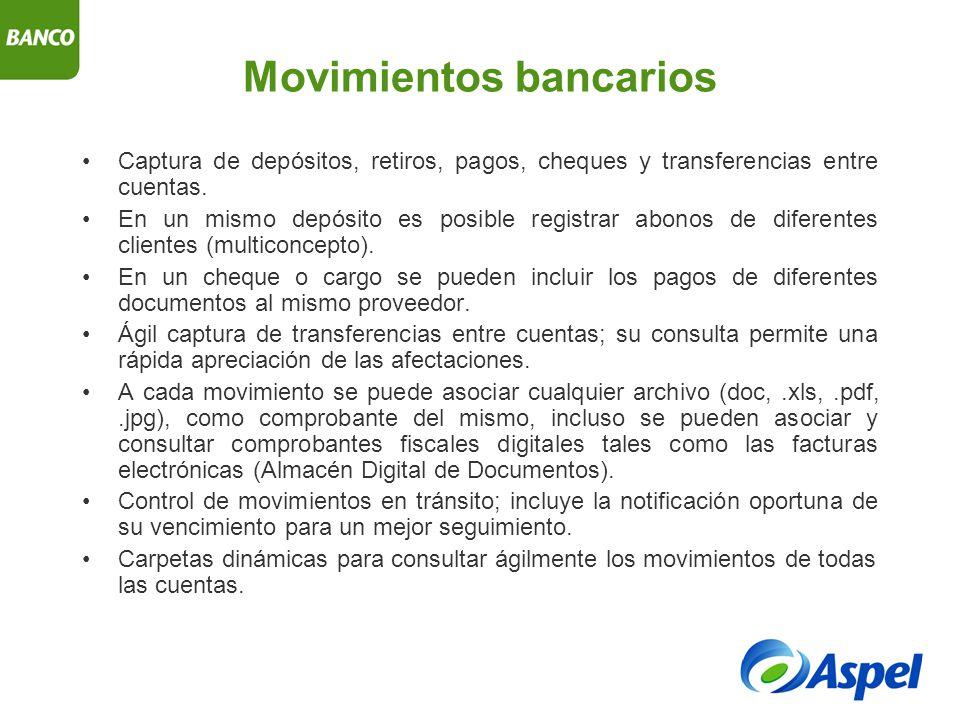 Movimientos bancarios Captura de depósitos, retiros, pagos, cheques y transferencias entre cuentas.