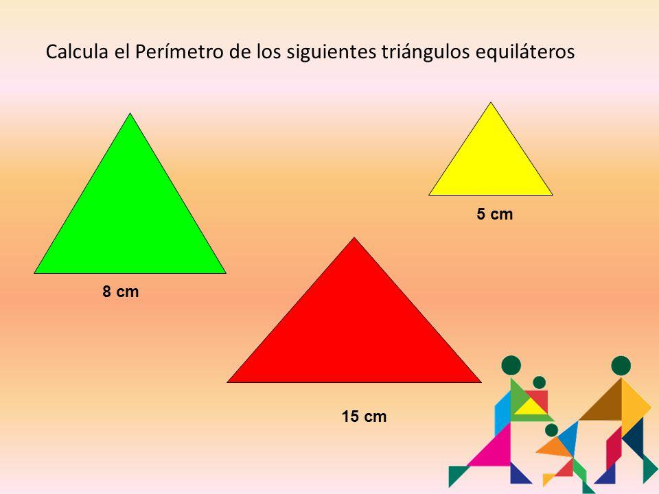 Calcula el Perímetro de los siguientes triángulos equiláteros 8 cm 15 cm 5 cm