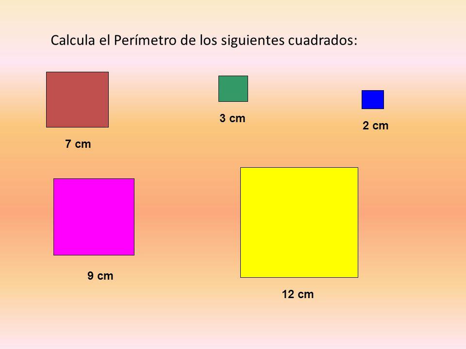 Calcula el Perímetro de los siguientes cuadrados: 7 cm 3 cm 2 cm 9 cm 12 cm