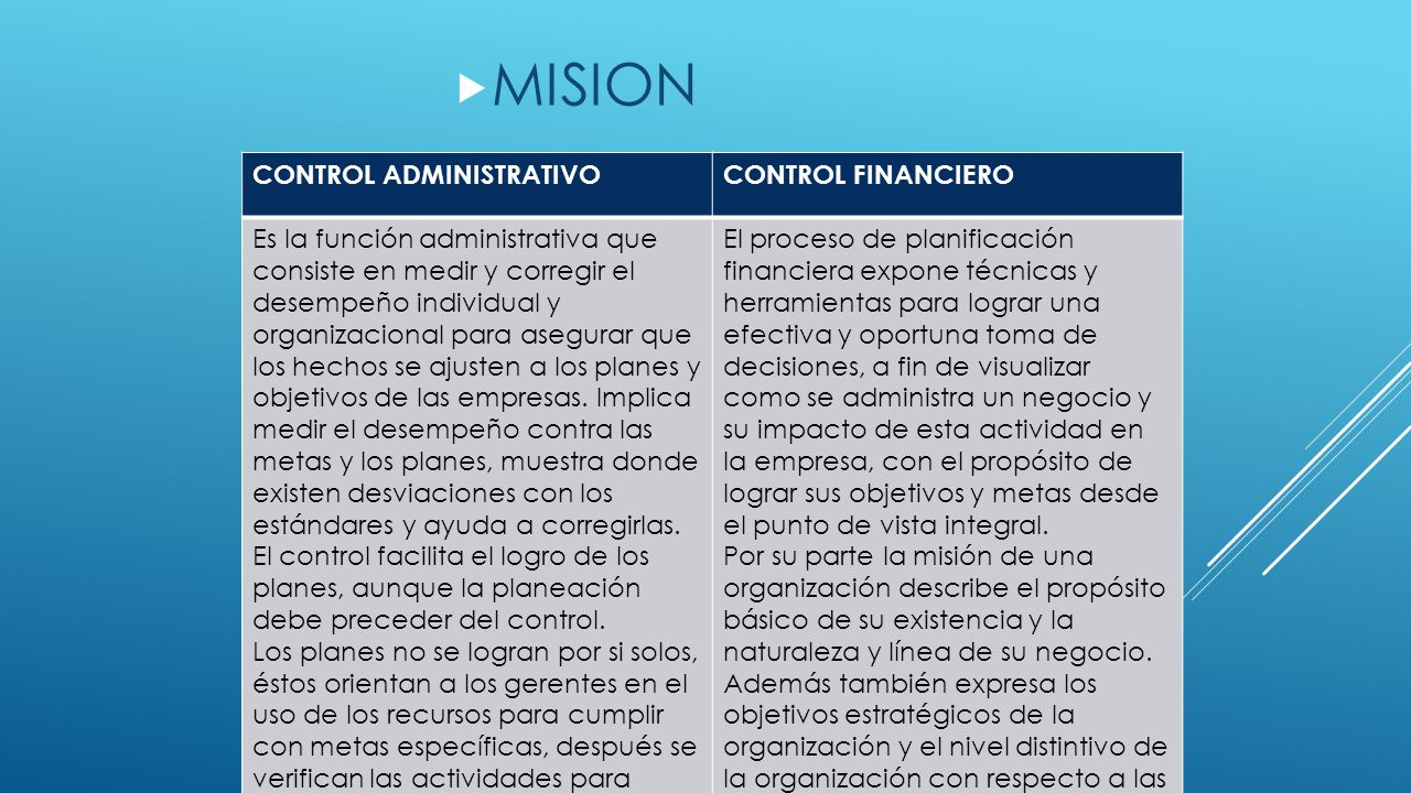  MISION CONTROL ADMINISTRATIVOCONTROL FINANCIERO Es la función administrativa que consiste en medir y corregir el desempeño individual y organizacion