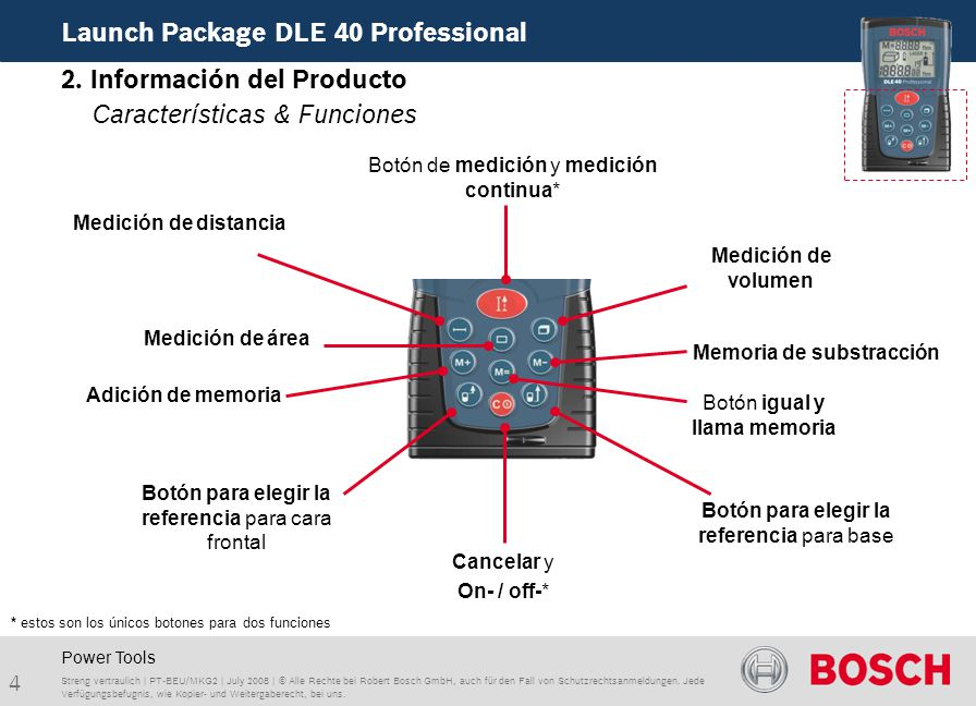 4 Launch Package DLE 40 Professional Streng vertraulich | PT-BEU/MKG2 | July 2008 | © Alle Rechte bei Robert Bosch GmbH, auch für den Fall von Schutzrechtsanmeldungen.