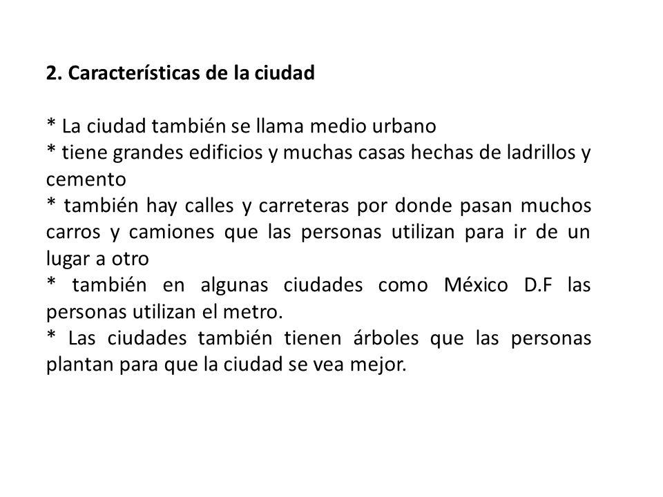 2. Características de la ciudad * La ciudad también se llama medio urbano * tiene grandes edificios y muchas casas hechas de ladrillos y cemento * tam