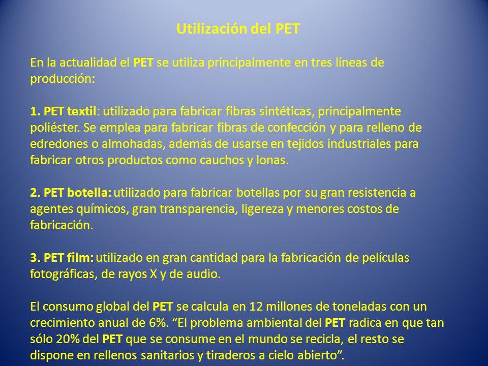 Utilización del PET En la actualidad el PET se utiliza principalmente en tres líneas de producción: 1.