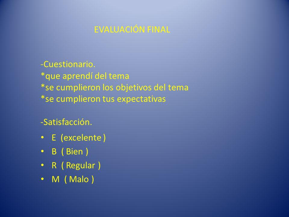 EVALUACIÓN FINAL -Cuestionario.