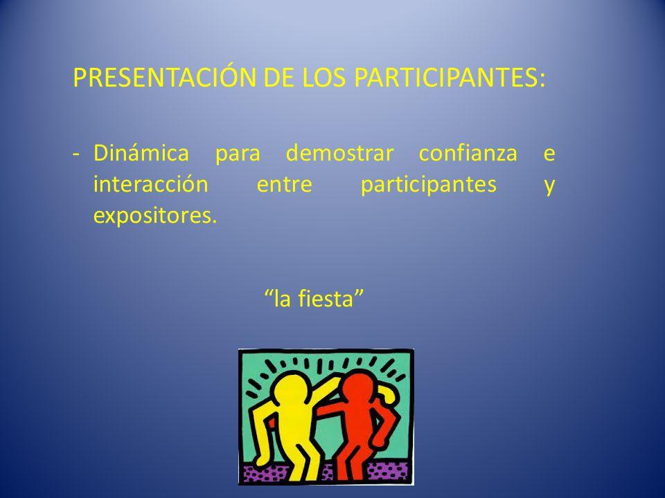 PRESENTACIÓN DE LOS PARTICIPANTES: -Dinámica para demostrar confianza e interacción entre participantes y expositores.