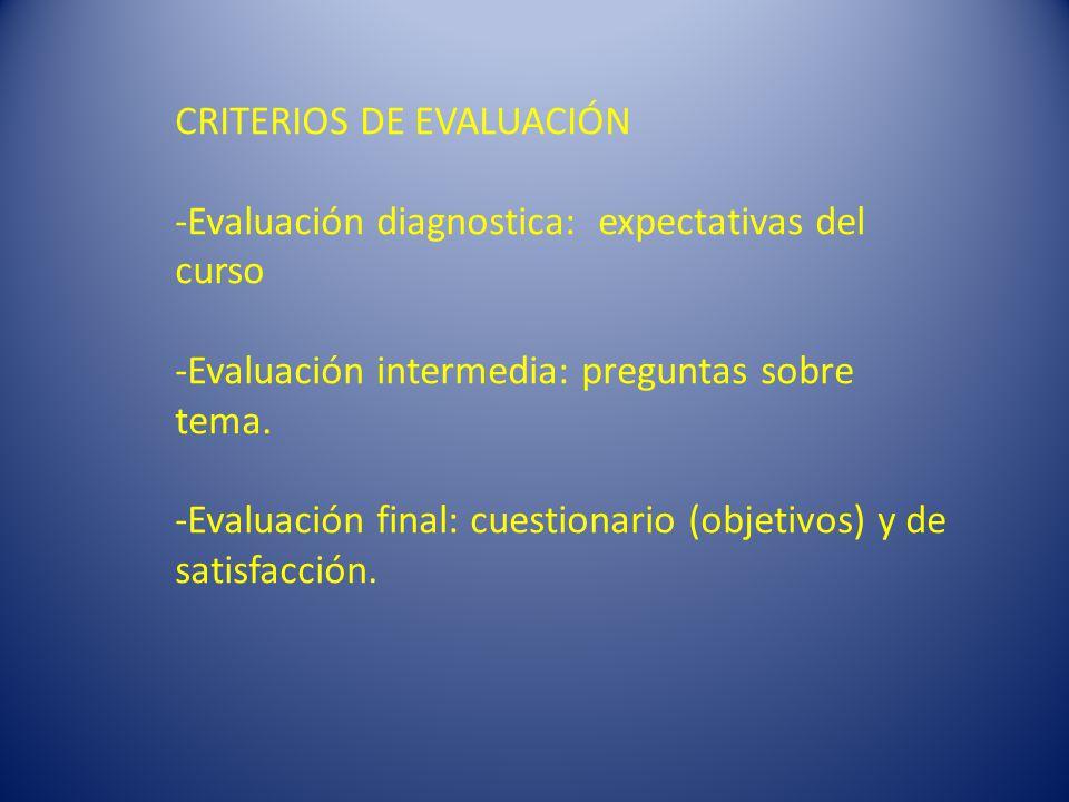 CRITERIOS DE EVALUACIÓN -Evaluación diagnostica: expectativas del curso -Evaluación intermedia: preguntas sobre tema.