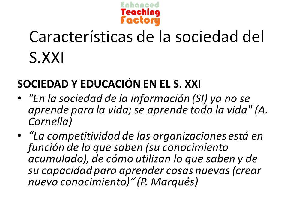 Características de la sociedad del S.XXI COMPETENCIAS DEL S.XXI Manejo de la información: búsqueda en diversos idiomas, selección, análisis crítico Manejo de la comunicación: redes sociales, publicación en blogs, wikis, webs, tweeter, etc.