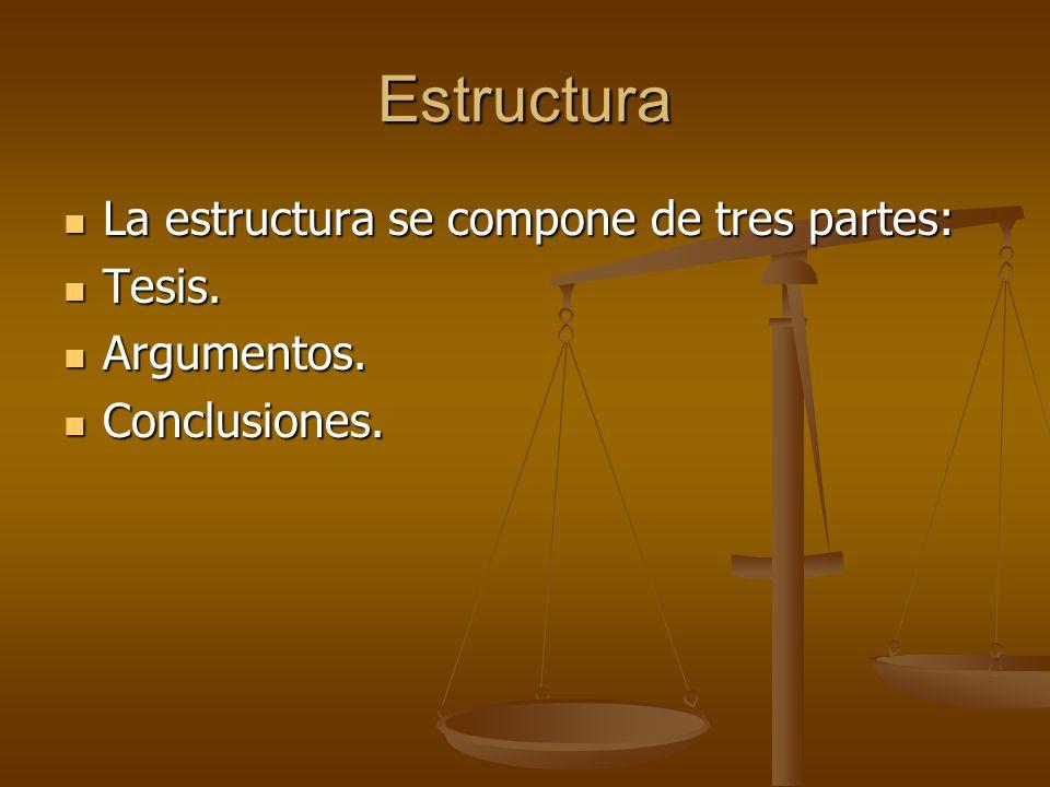 Estructura La estructura se compone de tres partes: La estructura se compone de tres partes: Tesis.