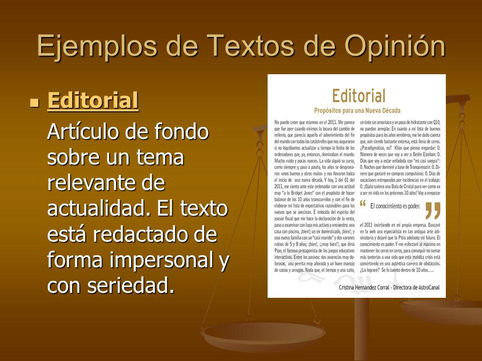Ejemplos de Textos de Opinión Editorial Editorial Editorial Artículo de fondo sobre un tema relevante de actualidad.