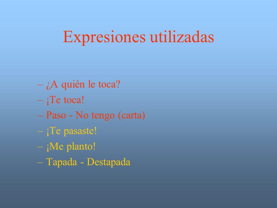 Expresiones utilizadas –¿A quién le toca.–¡Te toca.