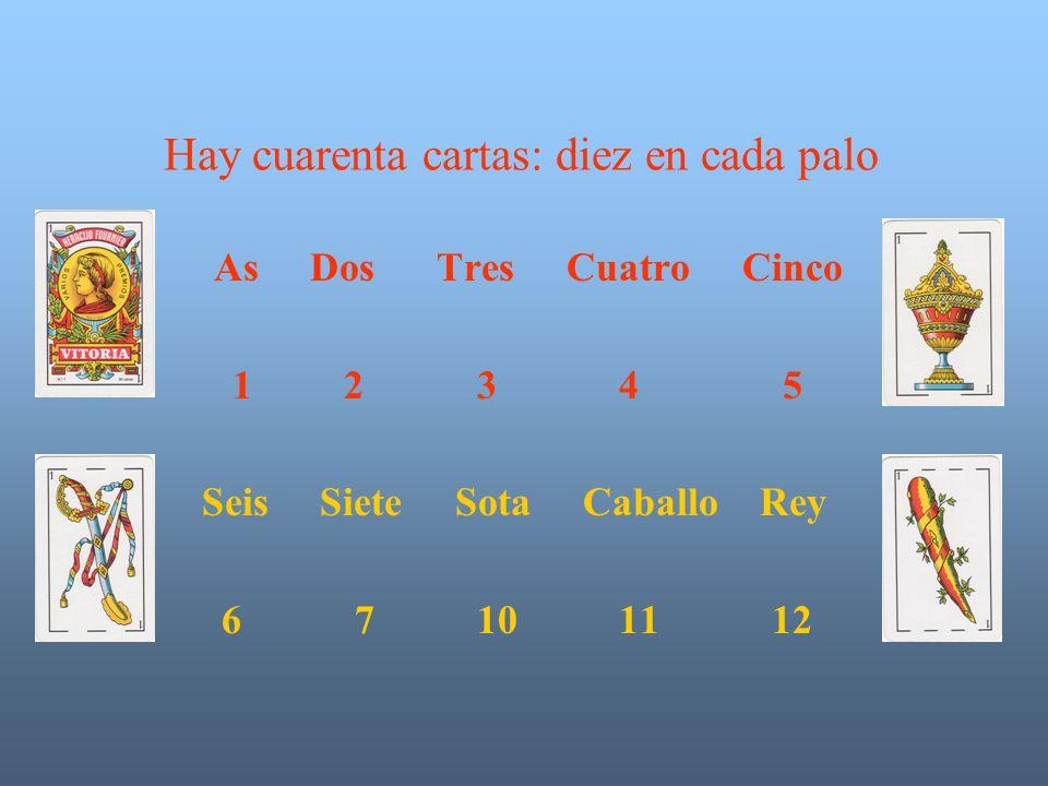 Hay cuarenta cartas: diez en cada palo As Dos Tres Cuatro Cinco 1 2 3 4 5 Seis Siete Sota Caballo Rey 6 7 10 11 12