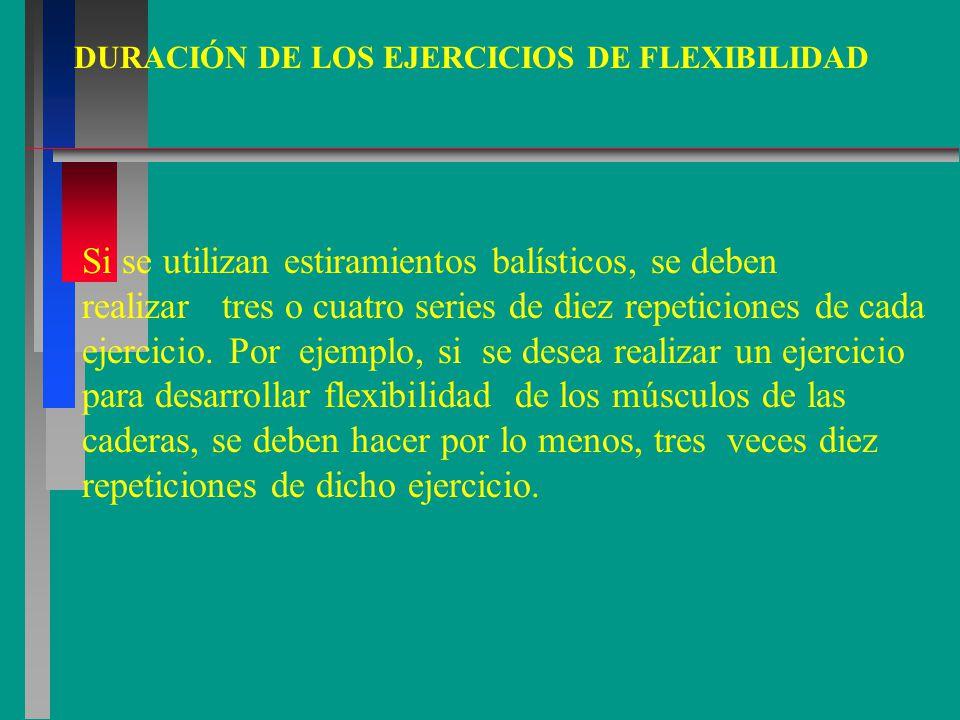 DURACIÓN DE LOS EJERCICIOS DE FLEXIBILIDAD Si se utilizan estiramientos balísticos, se deben realizar tres o cuatro series de diez repeticiones de cada ejercicio.